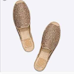 Tory Burch Max Glitter Gold Espadrilles Slide Mule